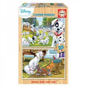 SUPER PUZZLE MADERA 2X25 * DISNEY ANIMALS DALMATAS+ ARISTOGA